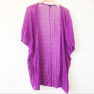 Torrid Short Sleeve Open Knit Berry Cardigan Sz 0
